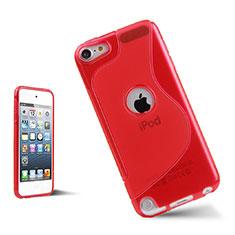 Custodia Silicone Trasparente Morbida S-Line per Apple iPod Touch 5 Rosso