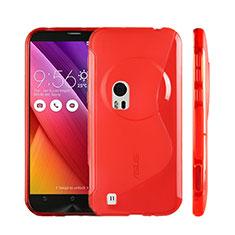 Custodia Silicone Trasparente Morbida S-Line per Asus Zenfone Zoom ZX551ML Rosso