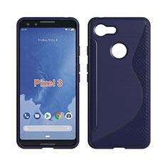 Custodia Silicone Trasparente Morbida S-Line per Google Pixel 3 Blu