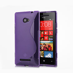 Custodia Silicone Trasparente Morbida S-Line per HTC 8X Windows Phone Viola