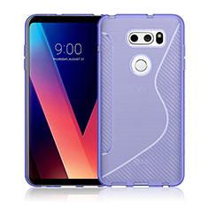 Custodia Silicone Trasparente Morbida S-Line per LG V30 Viola