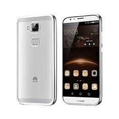 Custodia Silicone Trasparente Opaca Laterale per Huawei G8 Argento