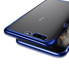 Custodia Silicone Trasparente Opaca Laterale per OnePlus 5 Blu