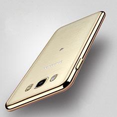Custodia Silicone Trasparente Opaca Laterale per Samsung Galaxy J5 Duos (2016) Oro