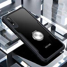 Custodia Silicone Trasparente Specchio Laterale 360 Gradi con Magnetico Anello Supporto per Huawei Honor 9X Nero