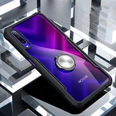 Custodia Silicone Trasparente Specchio Laterale 360 Gradi con Magnetico Anello Supporto per Huawei Honor 9X Pro Nero