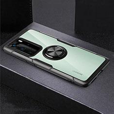 Custodia Silicone Trasparente Specchio Laterale 360 Gradi con Magnetico Anello Supporto per Huawei P40 Pro Nero