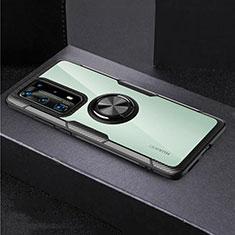Custodia Silicone Trasparente Specchio Laterale 360 Gradi con Magnetico Anello Supporto per Huawei P40 Pro+ Plus Nero