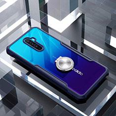 Custodia Silicone Trasparente Specchio Laterale 360 Gradi con Magnetico Anello Supporto per Oppo Reno Ace Blu