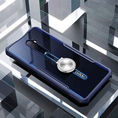 Custodia Silicone Trasparente Specchio Laterale 360 Gradi con Magnetico Anello Supporto per Oppo Reno2 Blu