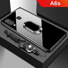 Custodia Silicone Trasparente Specchio Laterale 360 Gradi con Magnetico Anello Supporto per Samsung Galaxy A6s Nero