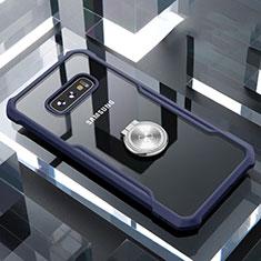 Custodia Silicone Trasparente Specchio Laterale 360 Gradi con Magnetico Anello Supporto per Samsung Galaxy S10e Blu