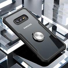 Custodia Silicone Trasparente Specchio Laterale 360 Gradi con Magnetico Anello Supporto per Samsung Galaxy S10e Nero