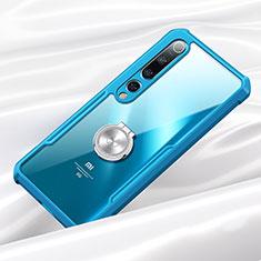 Custodia Silicone Trasparente Specchio Laterale 360 Gradi con Magnetico Anello Supporto per Xiaomi Mi 10 Blu