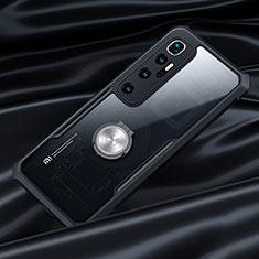 Custodia Silicone Trasparente Specchio Laterale 360 Gradi con Magnetico Anello Supporto per Xiaomi Mi 10 Ultra Nero