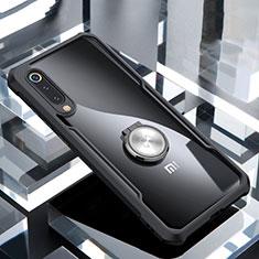 Custodia Silicone Trasparente Specchio Laterale 360 Gradi con Magnetico Anello Supporto per Xiaomi Mi 9 Pro Nero
