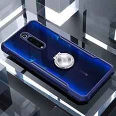 Custodia Silicone Trasparente Specchio Laterale 360 Gradi con Magnetico Anello Supporto per Xiaomi Mi 9T Blu