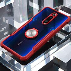Custodia Silicone Trasparente Specchio Laterale 360 Gradi con Magnetico Anello Supporto per Xiaomi Mi 9T Rosso