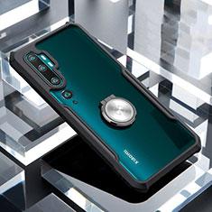 Custodia Silicone Trasparente Specchio Laterale 360 Gradi con Magnetico Anello Supporto per Xiaomi Mi Note 10 Nero