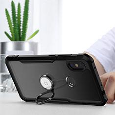 Custodia Silicone Trasparente Specchio Laterale 360 Gradi con Magnetico Anello Supporto per Xiaomi Redmi Note 6 Pro Nero