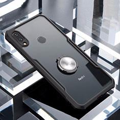 Custodia Silicone Trasparente Specchio Laterale 360 Gradi con Magnetico Anello Supporto per Xiaomi Redmi Note 7 Pro Nero