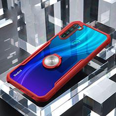 Custodia Silicone Trasparente Specchio Laterale 360 Gradi con Magnetico Anello Supporto per Xiaomi Redmi Note 8T Rosso