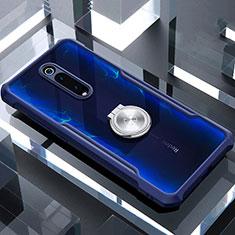 Custodia Silicone Trasparente Specchio Laterale 360 Gradi con Magnetico Anello Supporto T01 per Xiaomi Mi 9T Pro Blu