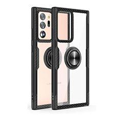 Custodia Silicone Trasparente Specchio Laterale 360 Gradi con Magnetico Anello Supporto T02 per Samsung Galaxy Note 20 Ultra 5G Nero