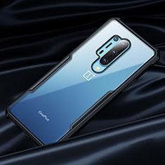 Custodia Silicone Trasparente Specchio Laterale 360 Gradi per OnePlus 8 Pro Nero
