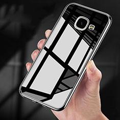Custodia Silicone Trasparente Specchio Laterale 360 Gradi per Samsung Galaxy A9 (2016) A9000 Nero