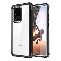 Custodia Silicone Trasparente Specchio Laterale 360 Gradi per Samsung Galaxy S20 Ultra 5G Nero