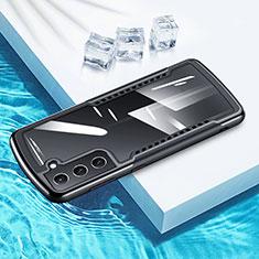 Custodia Silicone Trasparente Specchio Laterale 360 Gradi per Samsung Galaxy S21 Plus 5G Nero