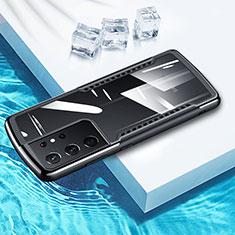 Custodia Silicone Trasparente Specchio Laterale 360 Gradi per Samsung Galaxy S21 Ultra 5G Nero