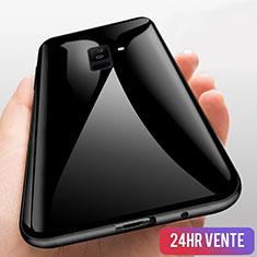 Custodia Silicone Trasparente Specchio Laterale 360 Gradi T03 per Samsung Galaxy A6 Plus (2018) Nero