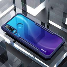 Custodia Silicone Trasparente Specchio Laterale Cover H01 per Huawei P30 Lite Blu
