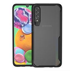 Custodia Silicone Trasparente Specchio Laterale Cover H01 per Samsung Galaxy A70 Nero