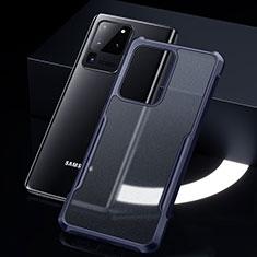 Custodia Silicone Trasparente Specchio Laterale Cover H01 per Samsung Galaxy S20 Ultra 5G Blu