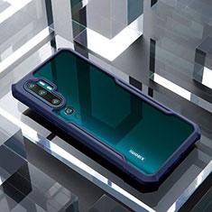 Custodia Silicone Trasparente Specchio Laterale Cover H01 per Xiaomi Mi Note 10 Pro Blu