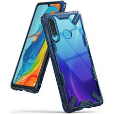 Custodia Silicone Trasparente Specchio Laterale Cover H02 per Huawei P30 Lite Blu