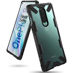 Custodia Silicone Trasparente Specchio Laterale Cover H02 per OnePlus 8 Nero