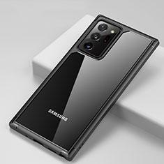 Custodia Silicone Trasparente Specchio Laterale Cover H02 per Samsung Galaxy Note 20 Ultra 5G Nero
