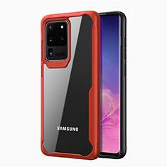 Custodia Silicone Trasparente Specchio Laterale Cover H02 per Samsung Galaxy S20 Ultra Rosso
