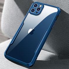 Custodia Silicone Trasparente Specchio Laterale Cover H03 per Apple iPhone 12 Pro Max Blu