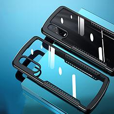 Custodia Silicone Trasparente Specchio Laterale Cover H03 per Oppo Find X2 Pro Nero