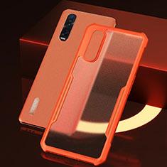 Custodia Silicone Trasparente Specchio Laterale Cover H04 per Oppo Find X2 Pro Arancione