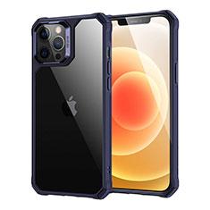 Custodia Silicone Trasparente Specchio Laterale Cover H07 per Apple iPhone 12 Pro Max Blu