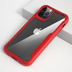 Custodia Silicone Trasparente Specchio Laterale Cover M01 per Apple iPhone 12 Pro Rosso
