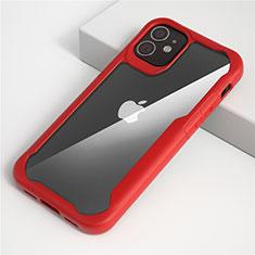 Custodia Silicone Trasparente Specchio Laterale Cover M01 per Apple iPhone 12 Rosso
