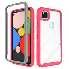 Custodia Silicone Trasparente Specchio Laterale Cover M01 per Google Pixel 4a Rosso