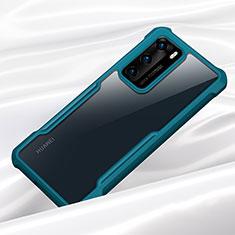 Custodia Silicone Trasparente Specchio Laterale Cover M01 per Huawei P40 Ciano
